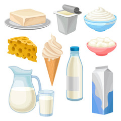 Dairy products set, butter, yogurt, bowl of sour cream and cottage cheese, ice cream, jug and glass of milk and cheese vector Illustrations on a white background