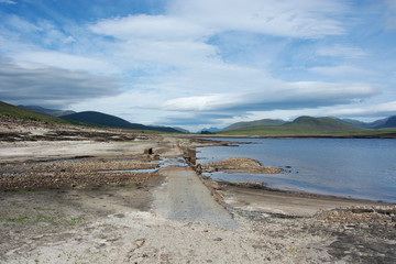 Looking westwards from the second bridge which is normally submerged in Loch Glascarnoch