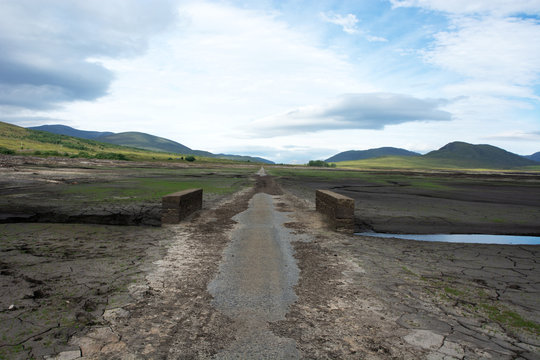 Looking Eastwards from the first bridge which is normally submerged in Loch Glascarnoch