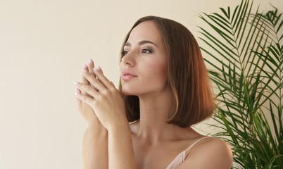 skin care concept. close up portrait of beautiful woman