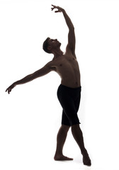 one young man, shirtless topless, ballet dancer, studio shot, white background isolated. full lenght shot, arms hand raised up, standing posing, looking up.