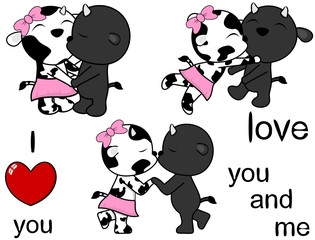 lovely cute cow and bull kissing cartoon love valentine set in vector format