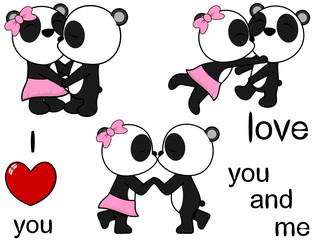 lovely cute panda bear kissing cartoon love valentine set in vector format