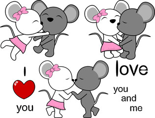 lovely cute mouse kissing cartoon love valentine set in vector format