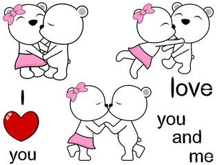 lovely cute polar bear kissing cartoon love valentine set in vector format