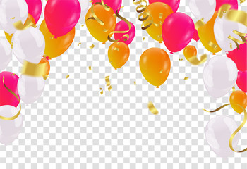 Balloons header background design element of birthday or party balloons for party serpentine