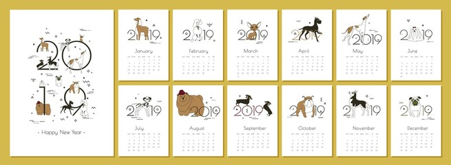 Monthly creative calendar 2019 with dog breeds Vector illustration A4