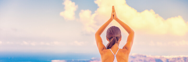 Yoga woman wellness sport and health concept banner panorama.