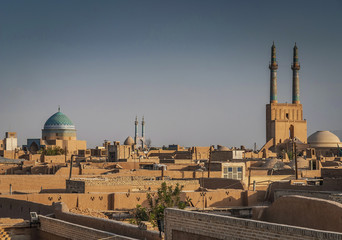 rootops and landscape view of  yazd city old town iran