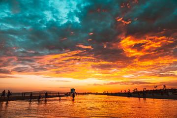 Fiery Beach Sunset 1