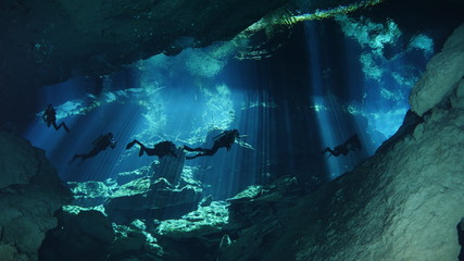 Diving in cenote Wall mural