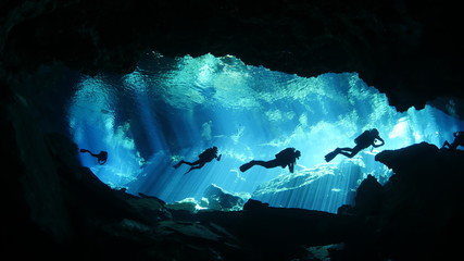 Diving in cenote