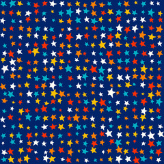 Multicolor bright stars, random vivid colors - Cute kids pattern background. Seamless vector pattern. Colorful childrens wallpapers background.