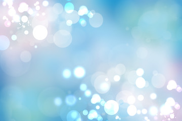 Abstract blue pastel bokeh background texture with bright soft color circles. Space for your text.