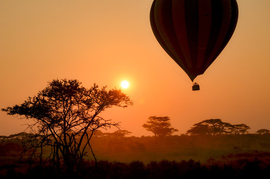 Hot air baloon at sunrise