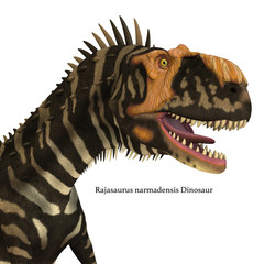 Rajasaurus Dinosaur Head with Font - Rajasaurus was a carnivorous theropod dinosaur that lived in India during the Cretaceous Period.