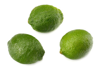 healthy food. 3 limes isolated on white background