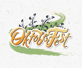 Oktoberfest logotype. Beer Festival vector banner. Illustration of Bavarian festival design on textured background with floral wreath. German yellow Lettering typography for poster, card, postcard