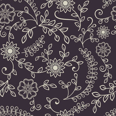 Seamless line art flower pattern