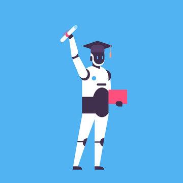 Graduated robot hold diploma certificate student cap