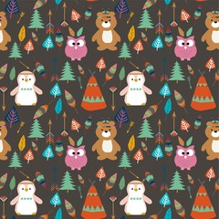 Seamless kids American indian native teepee retro animal background pattern in vector