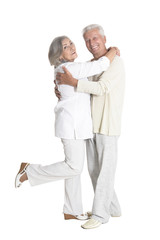 portrait of  senior couple hugging