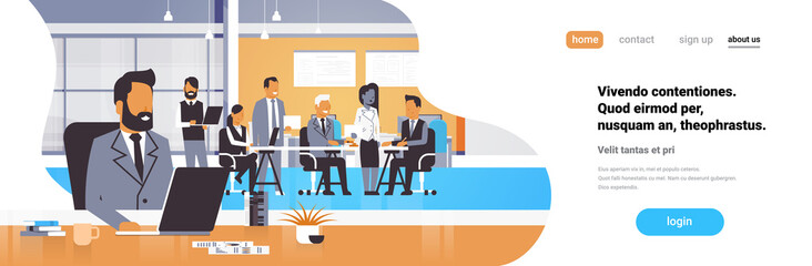 Businessman boss workplace over team brainstorming meeting group business people sitting together office discussing flat horizontal banner copy space vector illustration