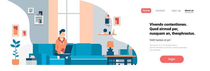 man using laptop living room interior home modern apartment male relax concept flat horizontal banner copy space vector illustration Wall mural