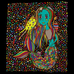 Mermaid girl and sea creatures, mosaic, doodle drawn by hand