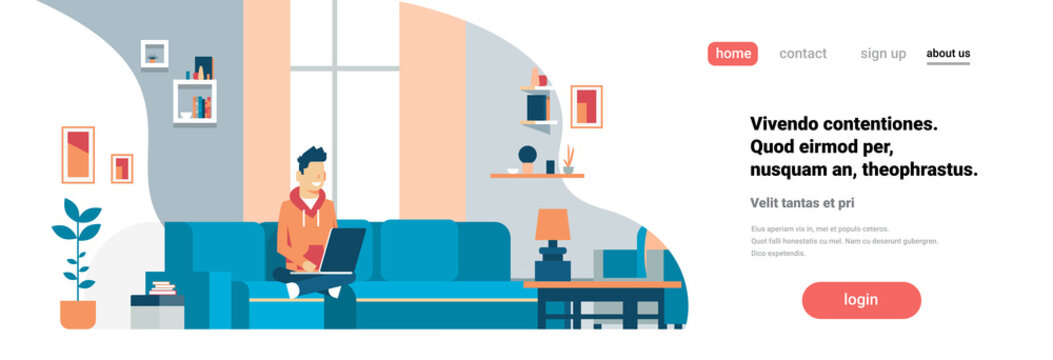 man using laptop living room interior home modern apartment male relax concept flat horizontal banner copy space vector illustration