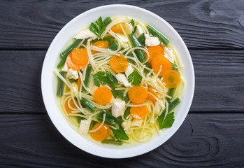 Homemade chicken soup with noodles