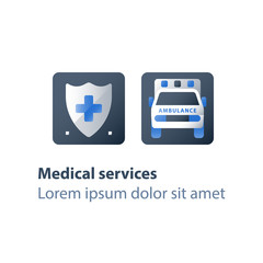 Fast hospitalization, ambulance vehicle, emergency car, health care and medical concept