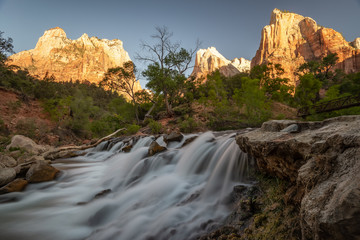 Sunrise at the Court of the Patriarchs, Zion NP, Utah, USA