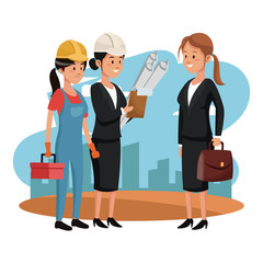Businesswoman with architect and worker at construction zone vector illustration graphic design