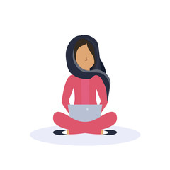 arab woman sitting pose isolated using tablet female faceless cartoon character flat vector illustration