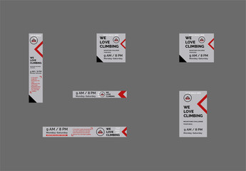 Web Banner Layout Set with Geometric Elements
