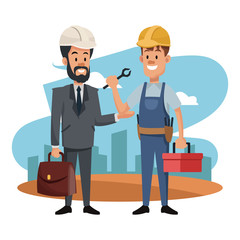 Worker and architect at construction zone vector illustration graphic design