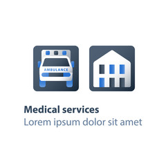Medical services, hospital ambulance, health care, emergency car, relocation and hospitalization