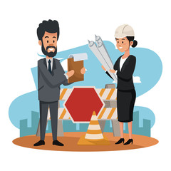 Businessman and woman architect at construction zone vector illustration graphic design