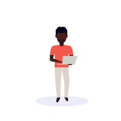 african american man using laptop standing pose isolated faceless silhouette male cartoon character full length flat vector illustration