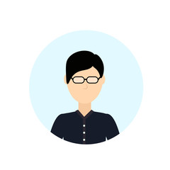 asian man avatar isolated faceless male cartoon character portrait flat vector illustration