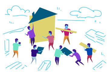 people group construction house workers team building process teamwork concept horizontal sketch doodle vector illustration