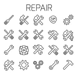 Repair related vector icon set