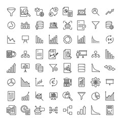 Set of premium big data icons in line style.
