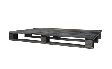 3D realistic render of old wooden pallet. Isolated on white background.
