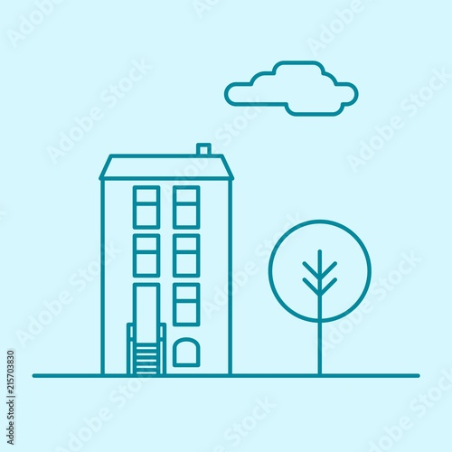 Vector city thin line office building with tree and cloud  Town