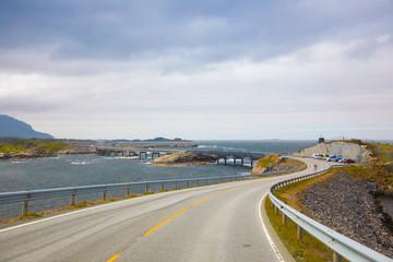 Bridge (Atlanterhavsvegen) with an amazing view over the norwegian mountains, Atlantic road, Norway