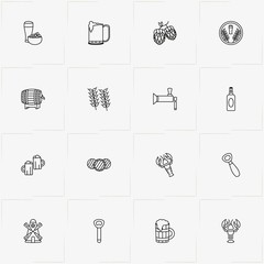 Beer line icon set with branch of nuts, lobster and beer