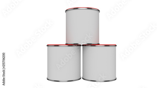 3D Realistic Render Composition Of Three Isolated Paint Can With
