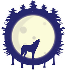 Wolf silhouette howling at the full moon in the forest